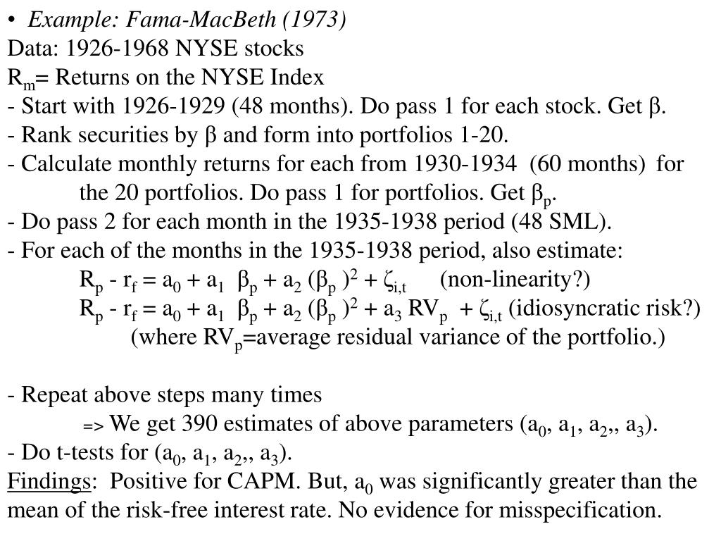 Example: Fama-MacBeth (1973)