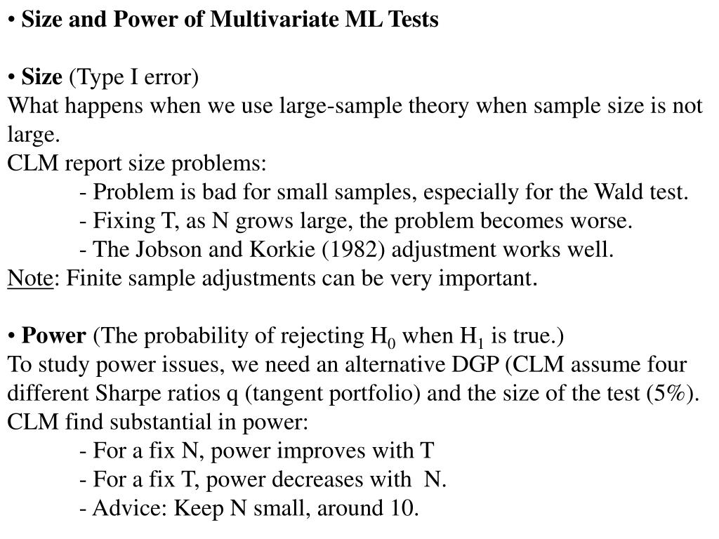 Size and Power of Multivariate ML Tests