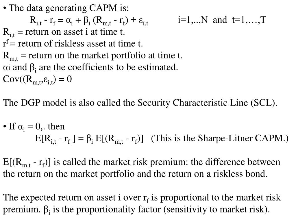 The data generating CAPM is: