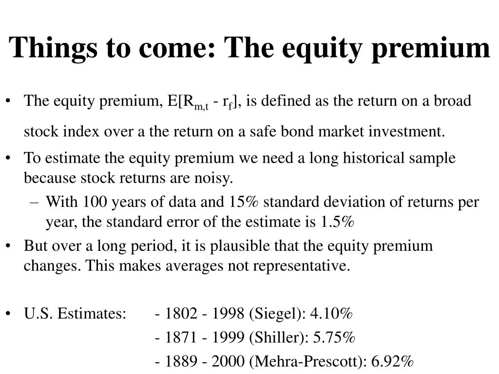 Things to come: The equity premium
