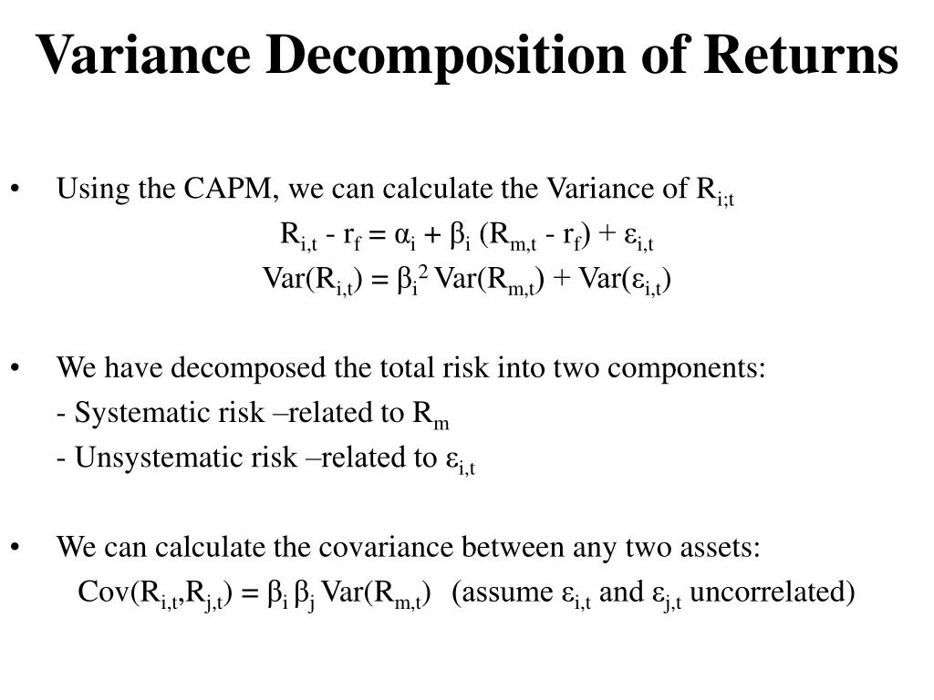 Variance Decomposition of Returns