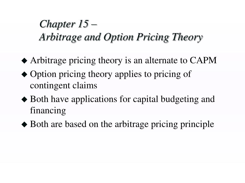 chapter 15 arbitrage and option pricing theory l.