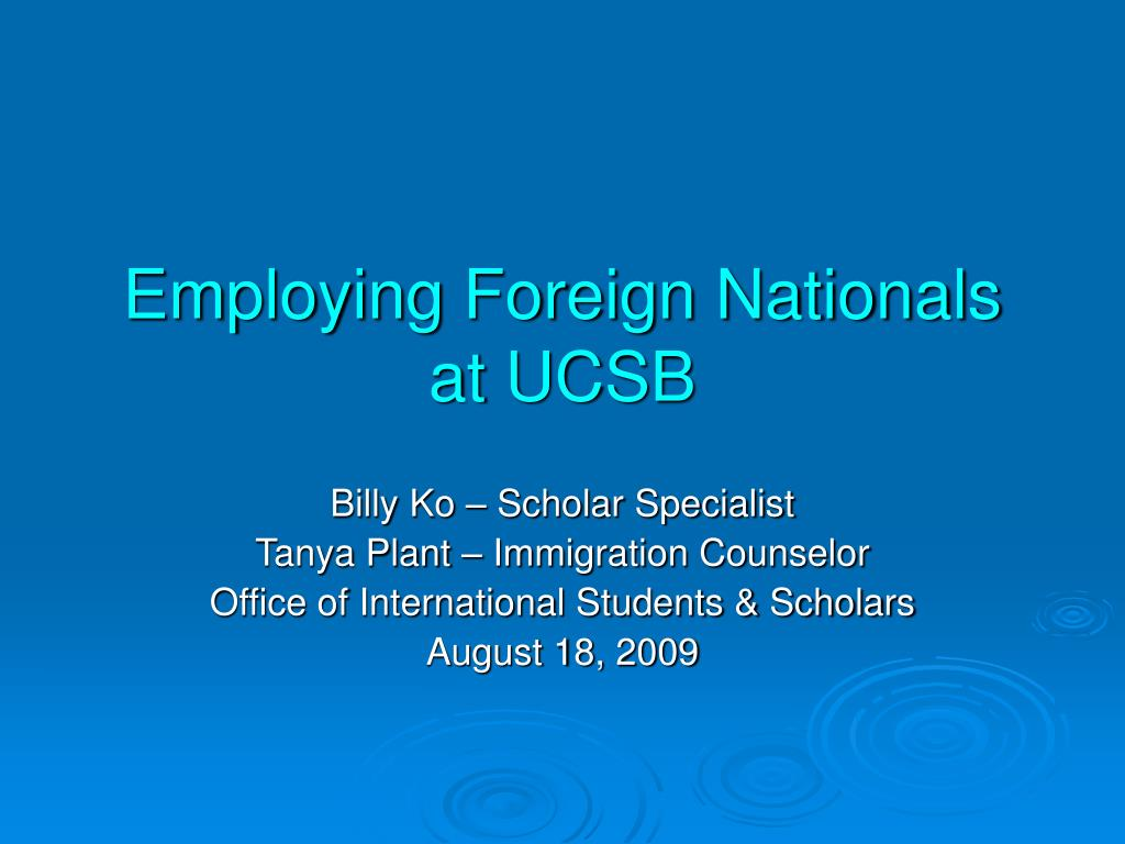 employing foreign nationals at ucsb l.