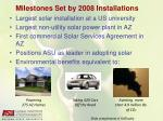 milestones set by 2008 installations