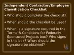 independent contractor employee classification checklist