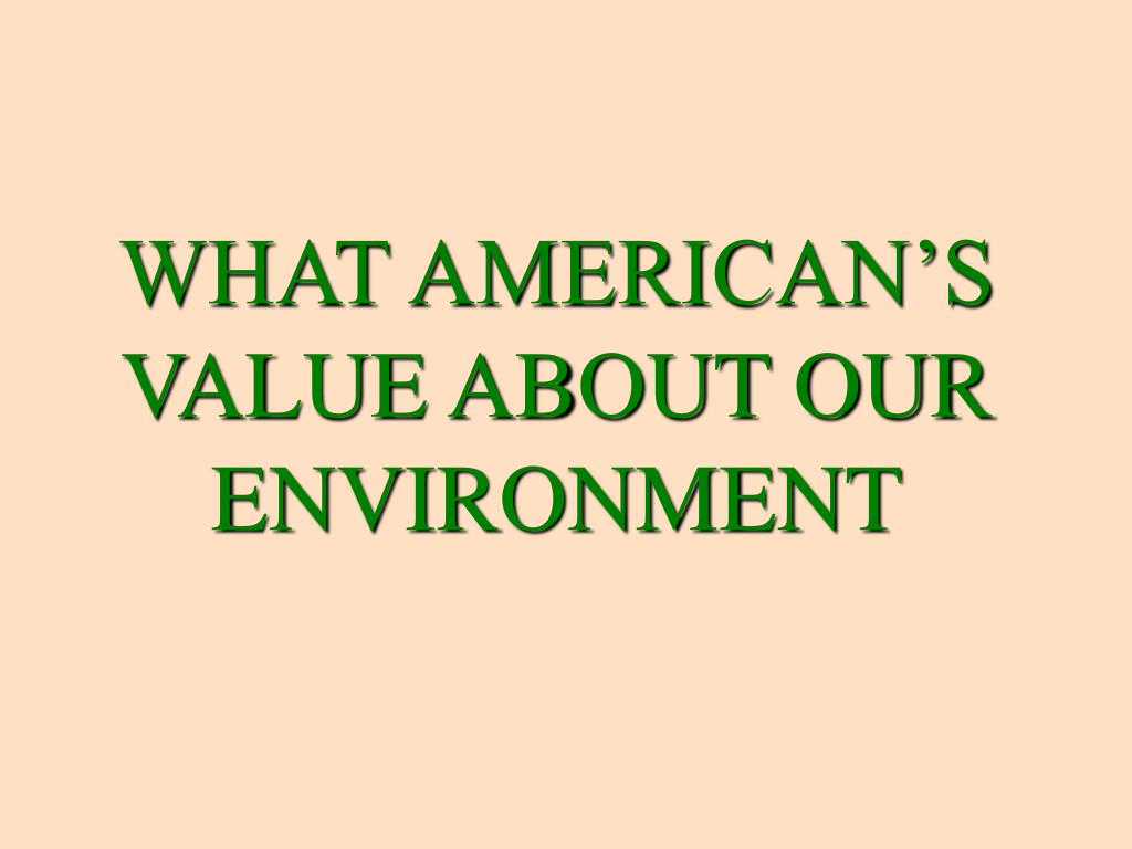 WHAT AMERICAN'S VALUE ABOUT OUR ENVIRONMENT