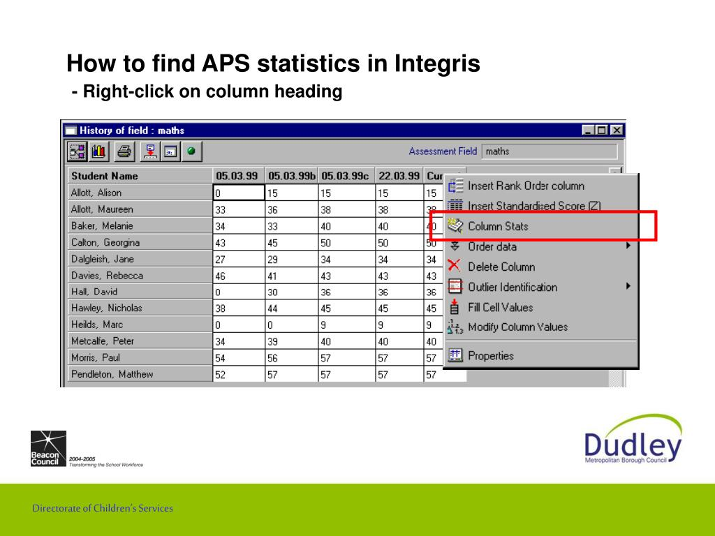 How to find APS statistics in Integris