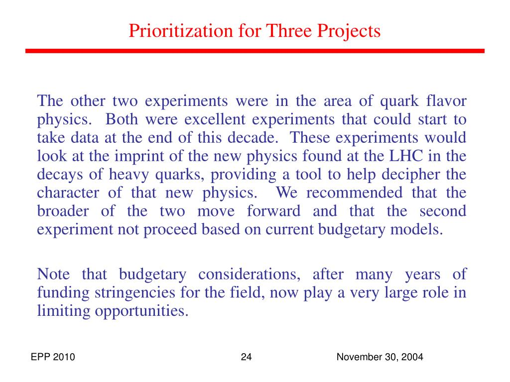 Prioritization for Three Projects