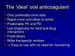 the ideal oral anticoagulant
