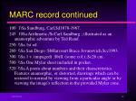 marc record continued