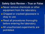 safety quiz review true or false11