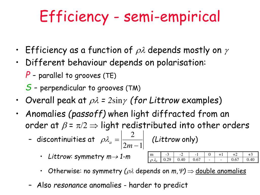 Efficiency - semi-empirical