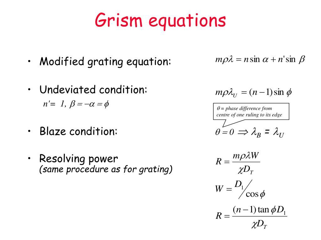 Grism equations