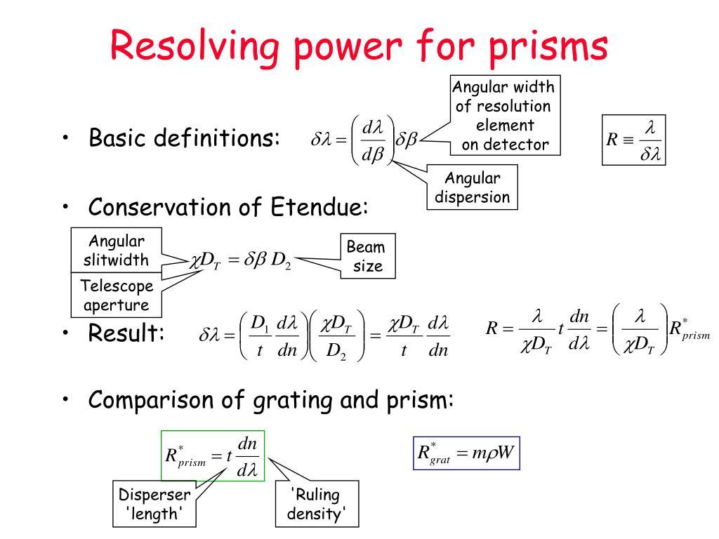 Resolving power for prisms