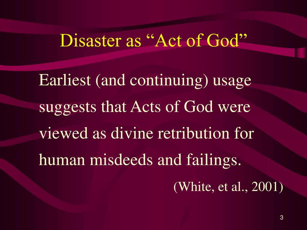 "Disaster as ""Act of God"""