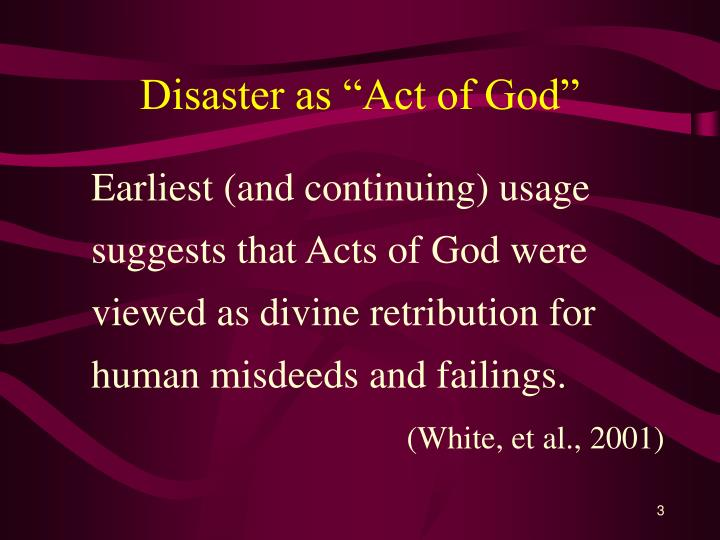Disaster as act of god