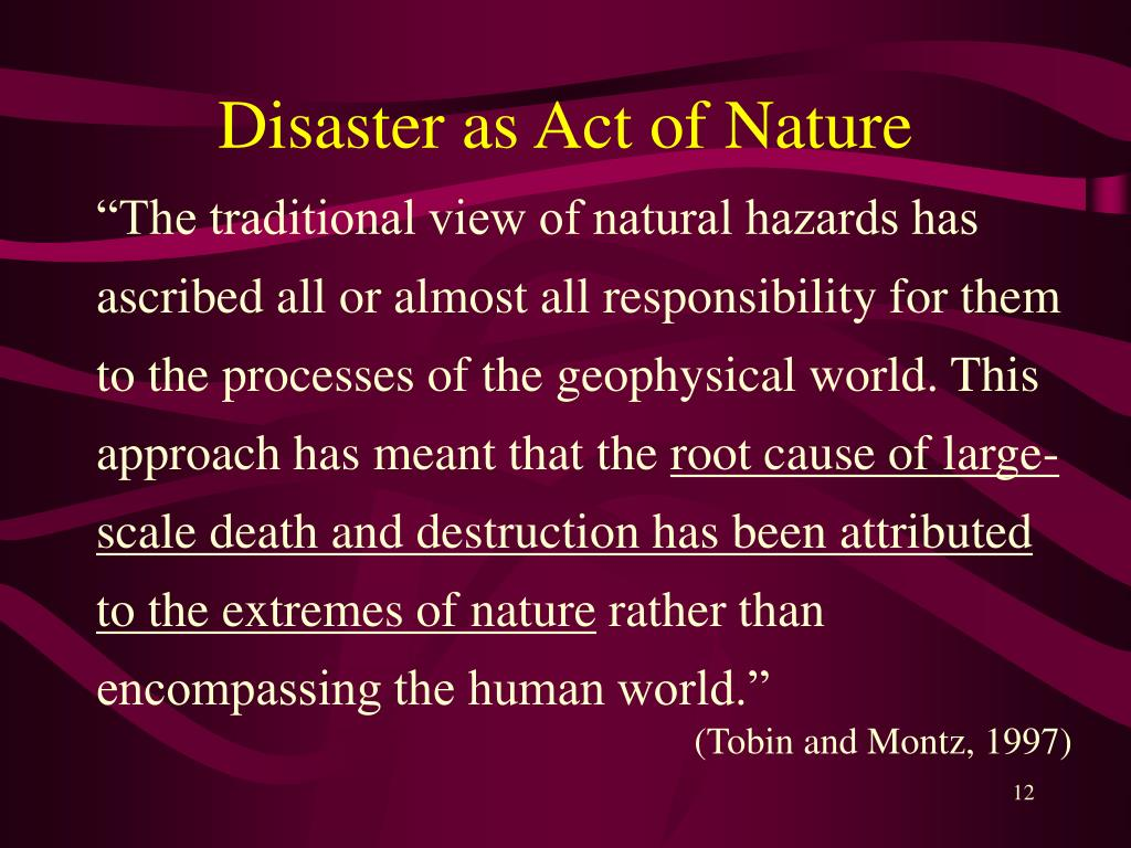 Disaster as Act of Nature