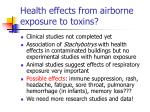 health effects from airborne exposure to toxins