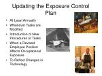 updating the exposure control plan