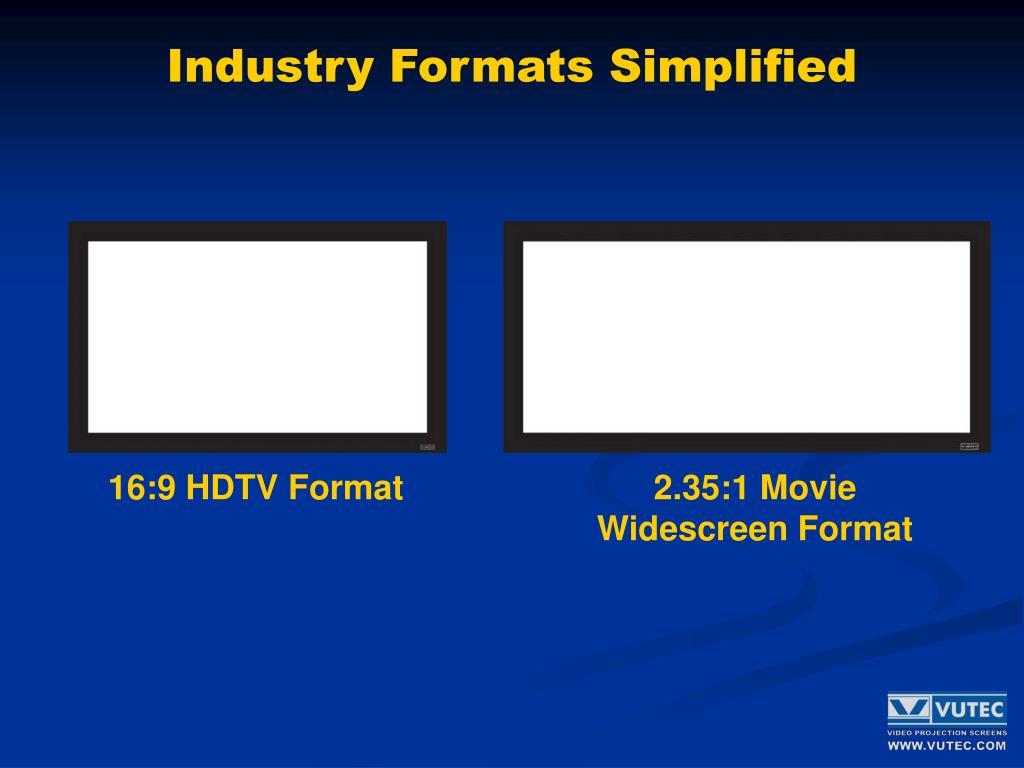 Industry Formats Simplified