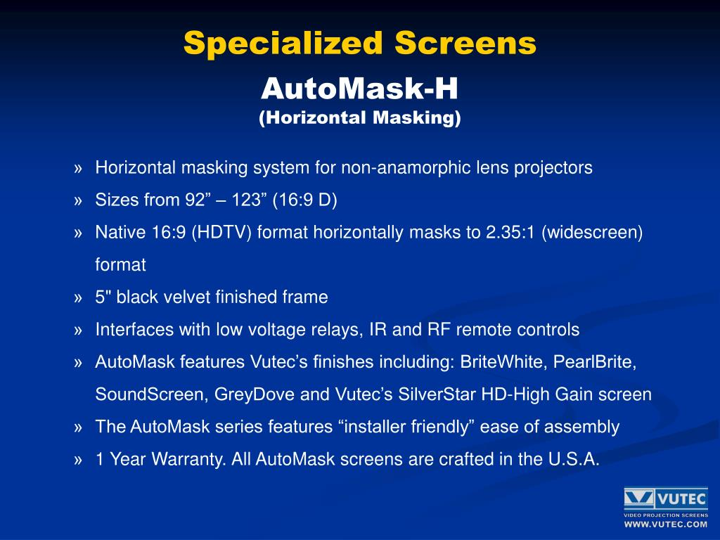 Specialized Screens
