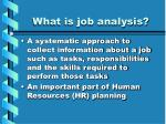 what is job analysis