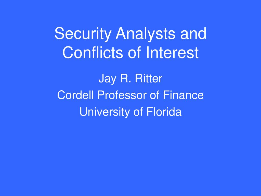 security analysts and conflicts of interest l.