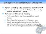 mining for association rules checkpoint
