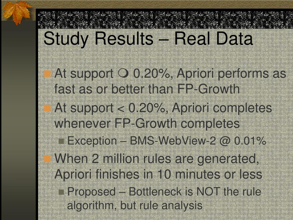 Study Results – Real Data
