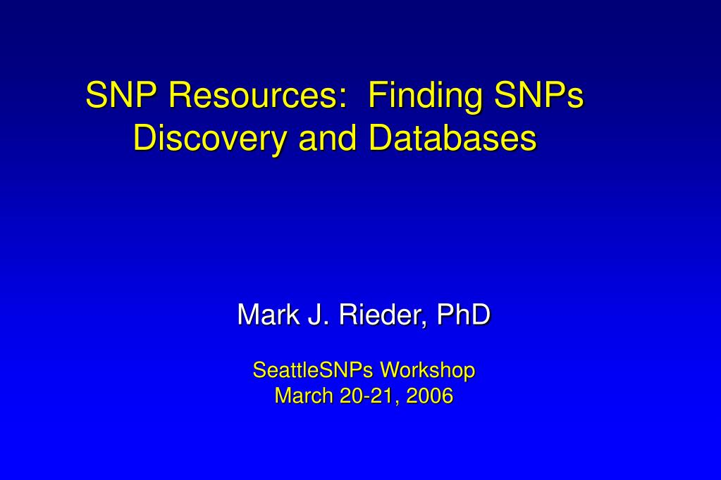 SNP Resources:  Finding SNPs