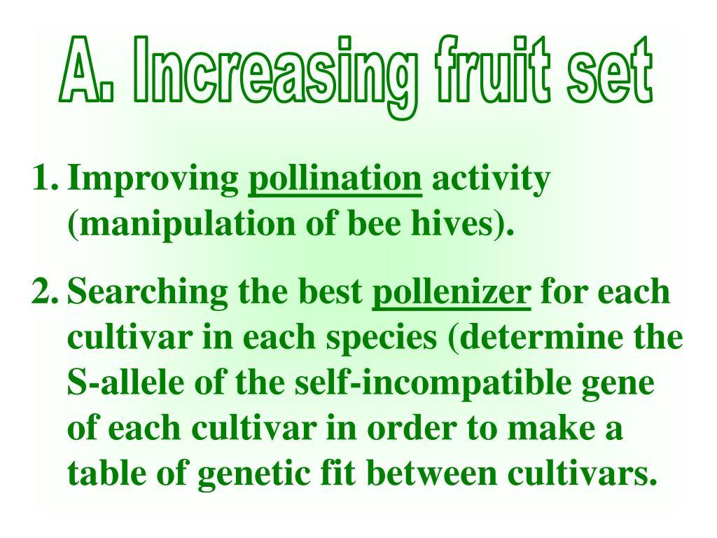 A. Increasing fruit set