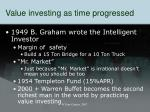 value investing as time progressed
