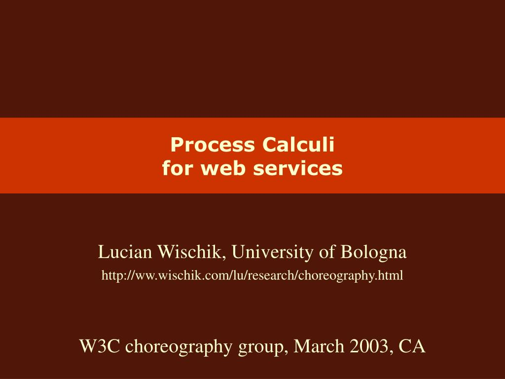 process calculi for web services l.