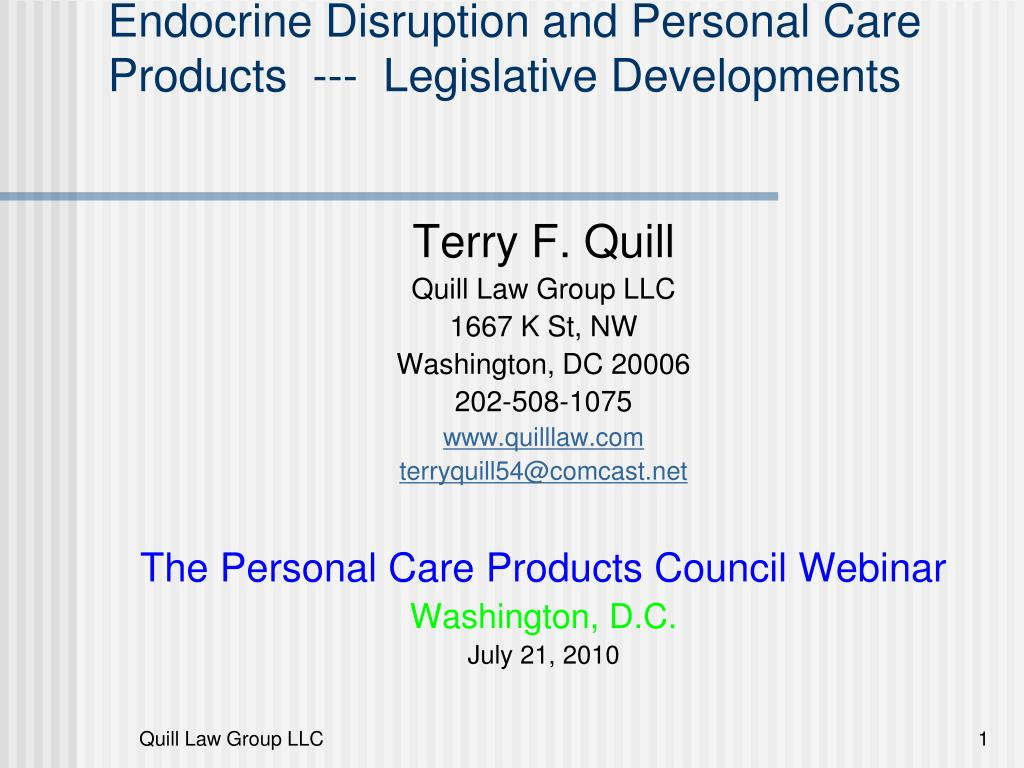 endocrine disruption and personal care products legislative developments l.