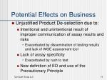 potential effects on business