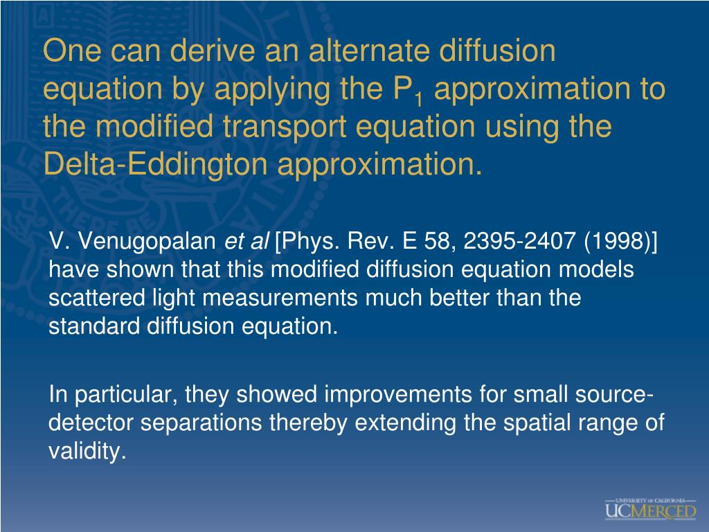 One can derive an alternate diffusion equation by applying the P