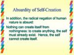 absurdity of self creation