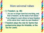 more universal values