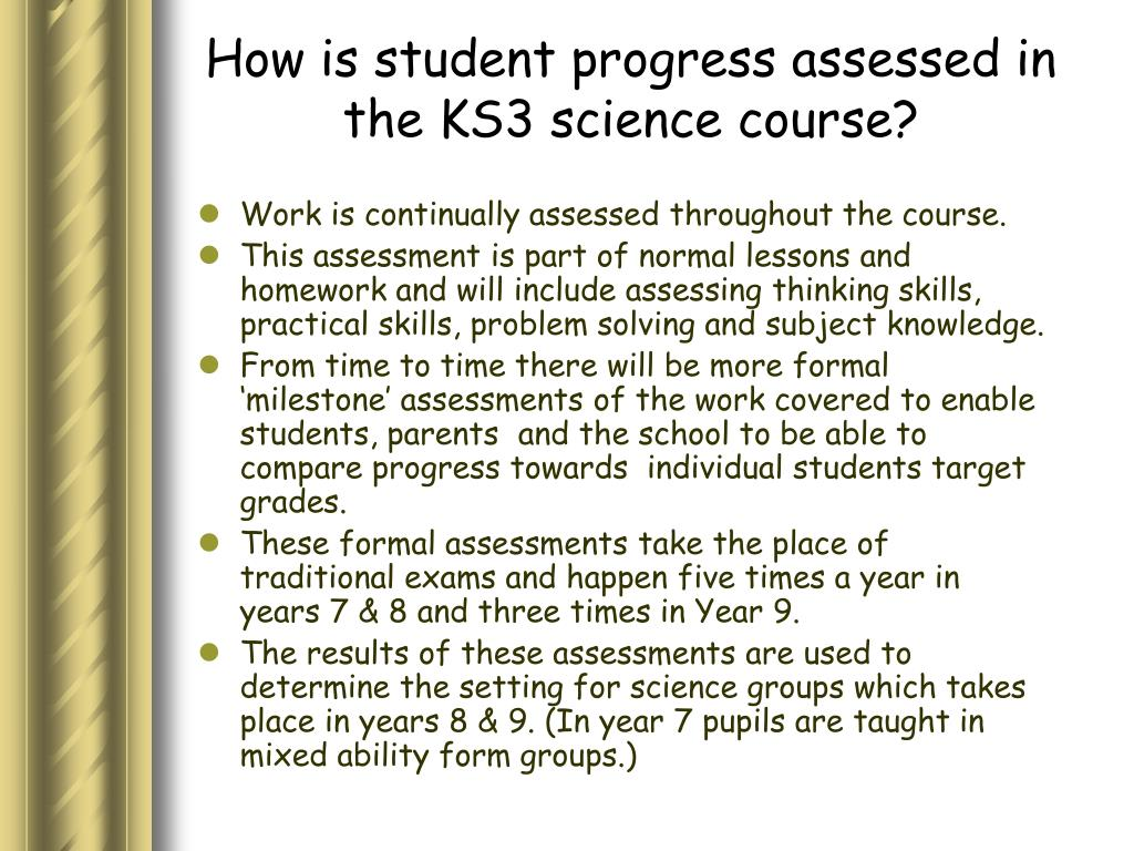 How is student progress assessed in the KS3 science course?