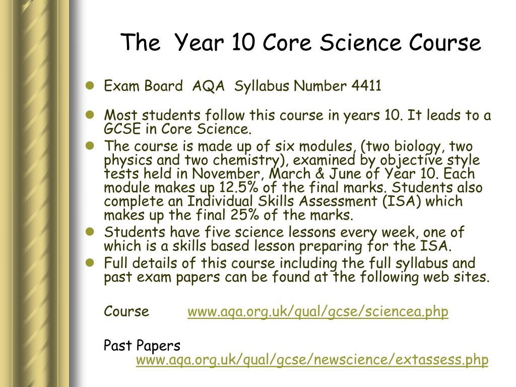 The  Year 10 Core Science Course