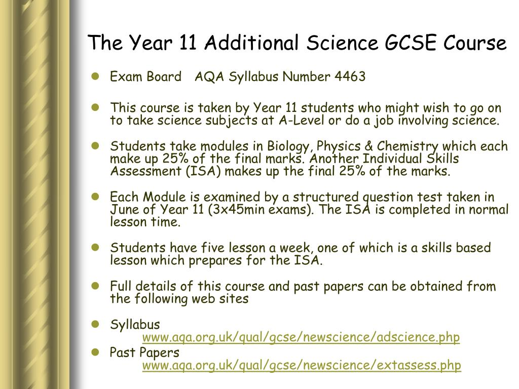 The Year 11 Additional Science GCSE Course