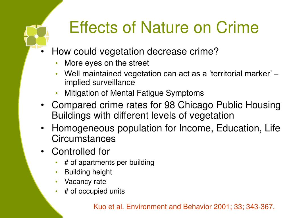 Effects of Nature on Crime