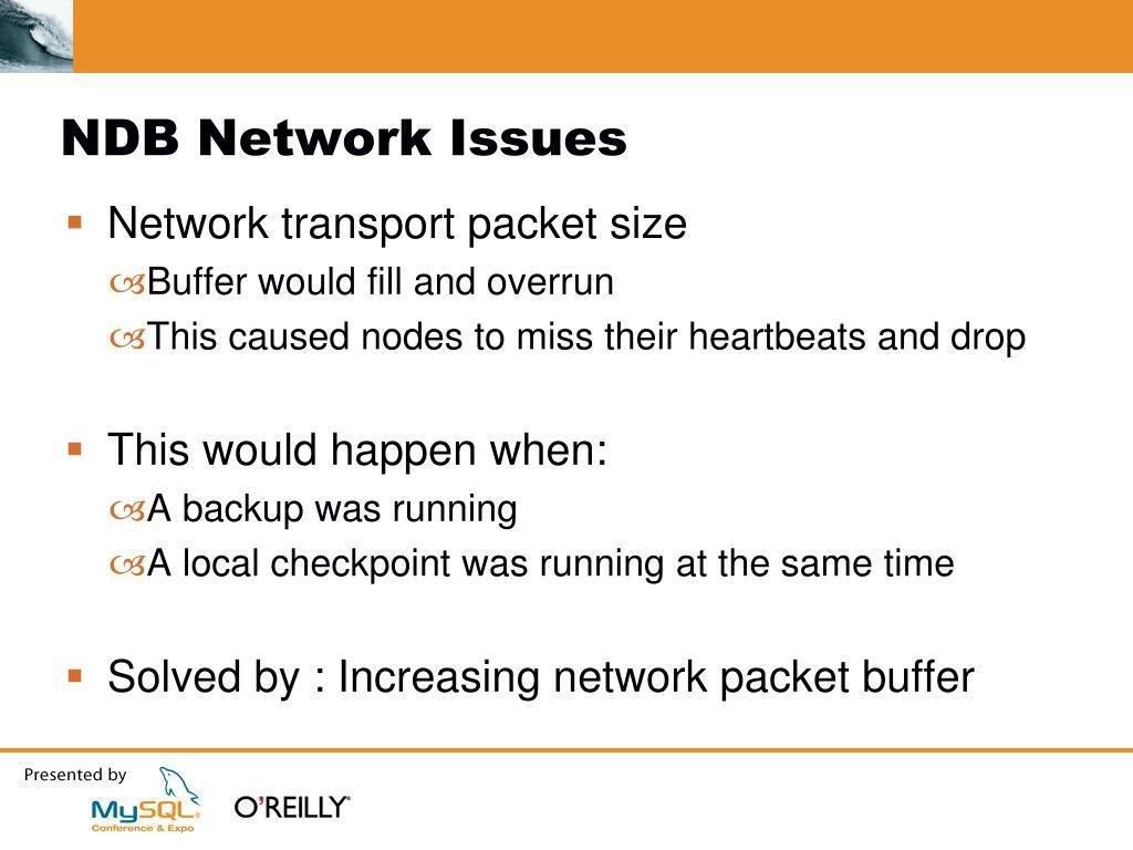 NDB Network Issues