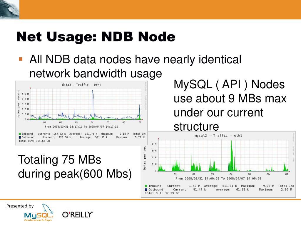 Net Usage: NDB Node