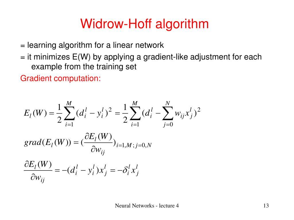 Widrow-Hoff algorithm