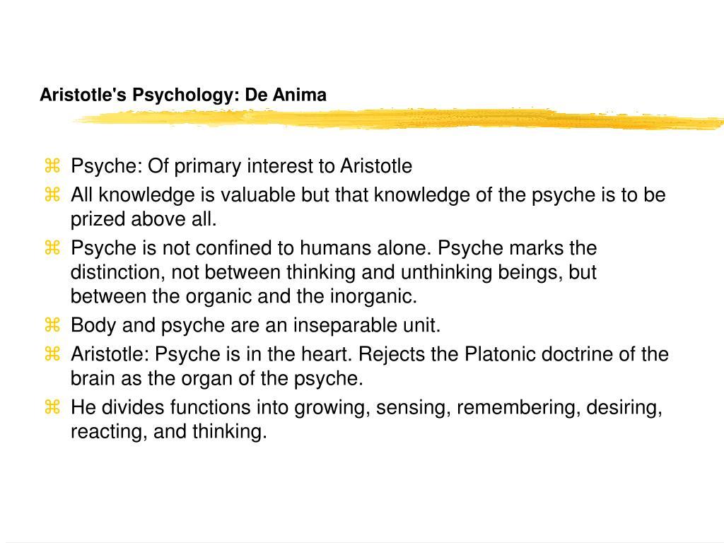 Aristotle's Psychology: De Anima