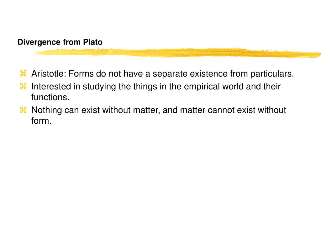 Divergence from Plato