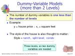 dummy variable models more than 2 levels
