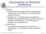 interpretation of estimated coefficients