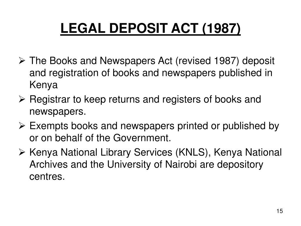 LEGAL DEPOSIT ACT (1987)